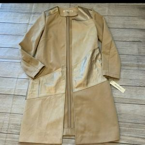 Kenneth cole new york fitted gold metallic trench